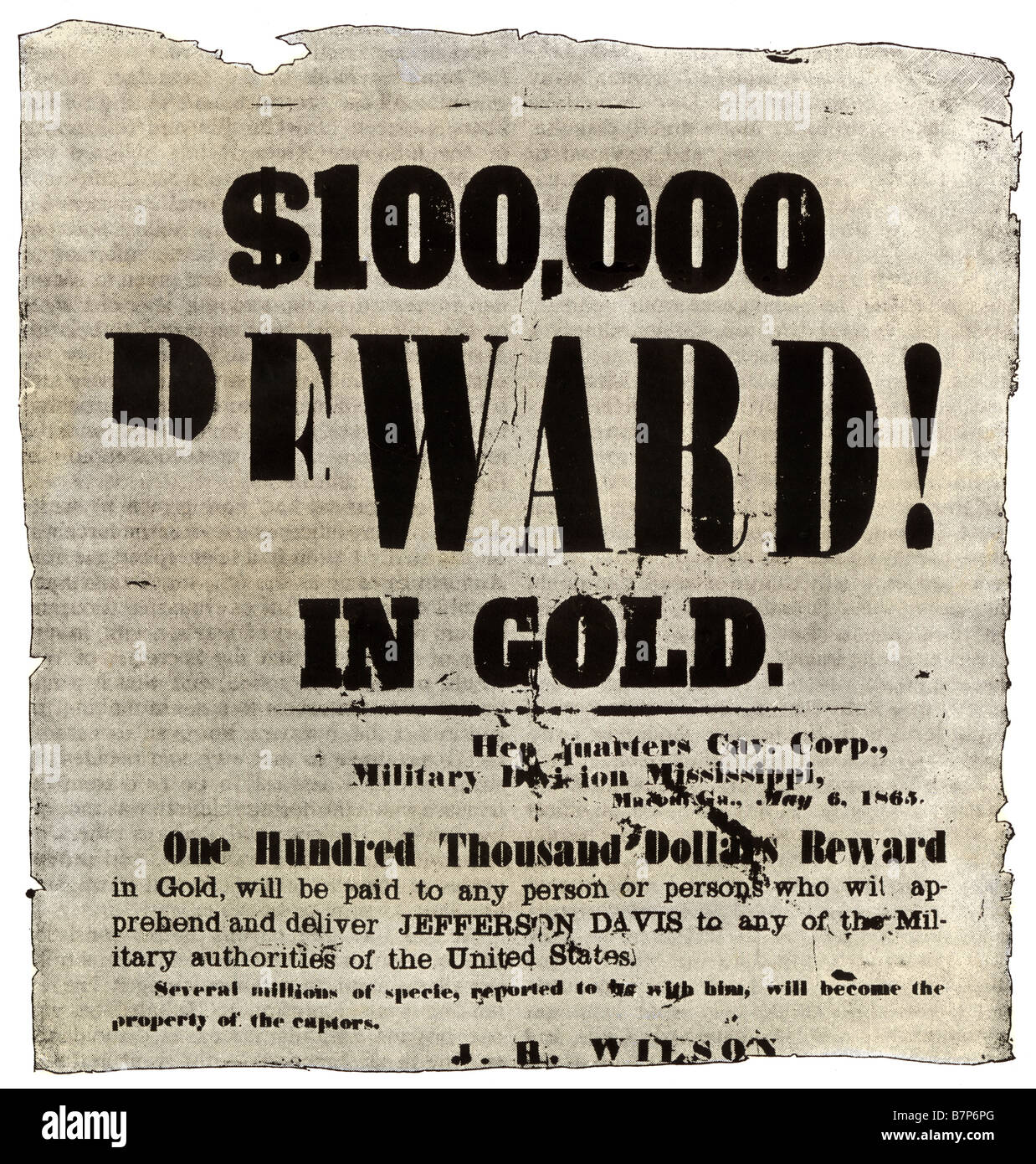 L'affiche de récompense offrant 100 000 $ en or pour la capture de Jefferson Davis en mai 1865. Avec un Photo Stock