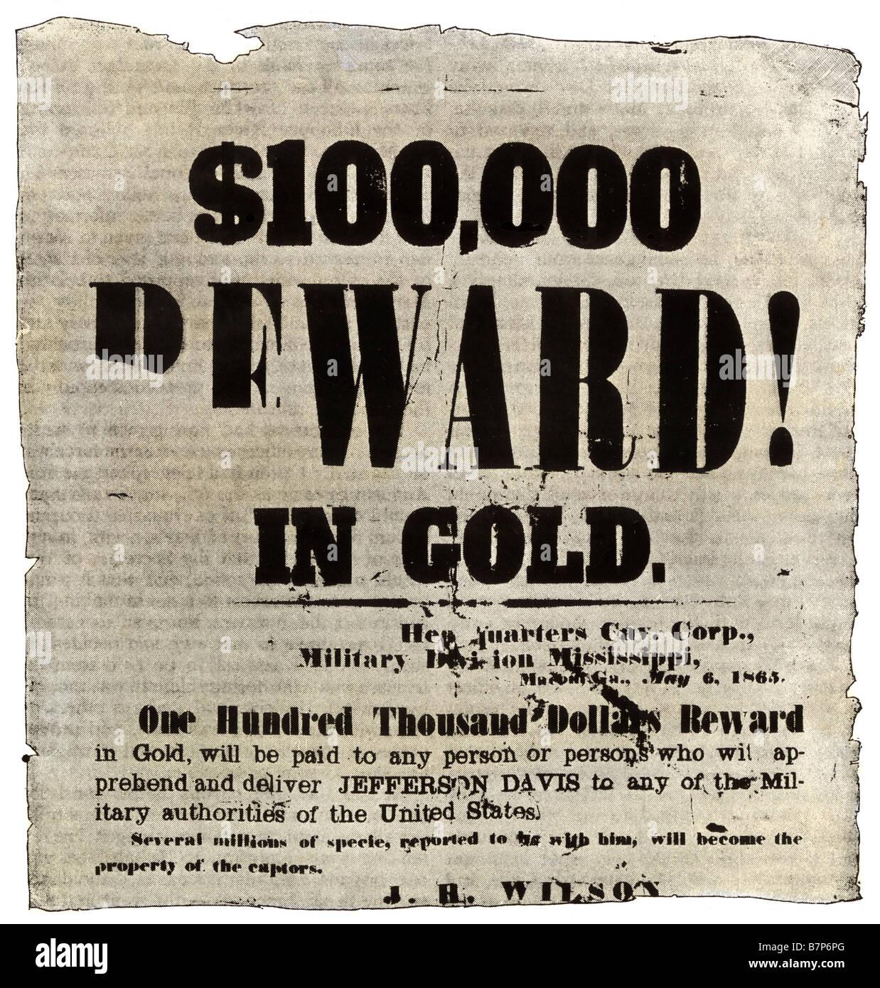 L'affiche de récompense offrant 100 000 $ en or pour la capture de Jefferson Davis en mai 1865 Photo Stock