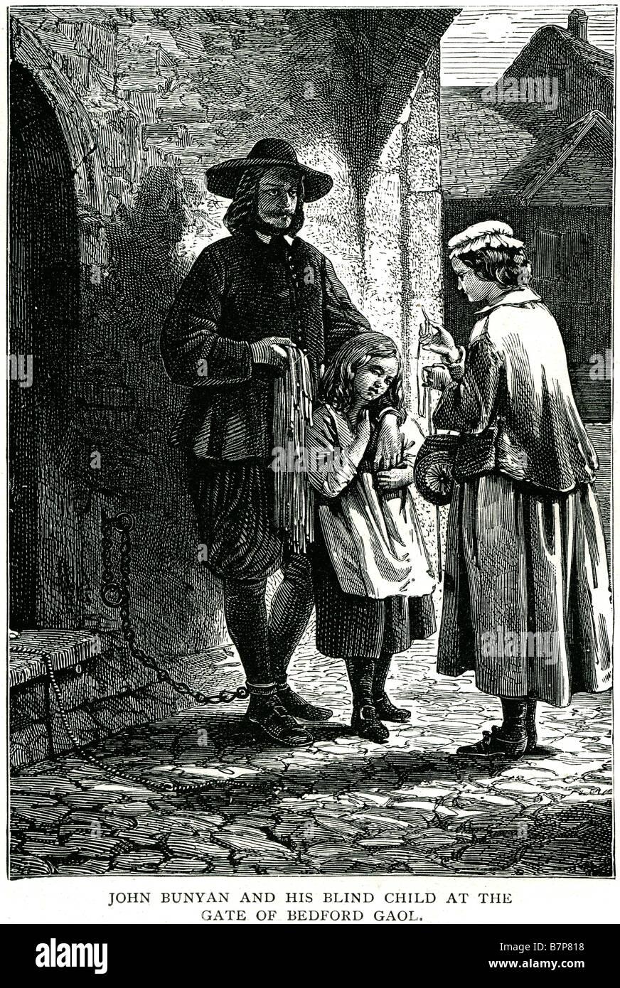 John Bunyan bedford porte son enfant aveugle prison Pilgrim's Progress English Christian street prisonnier enchaîné enfant mère man Banque D'Images