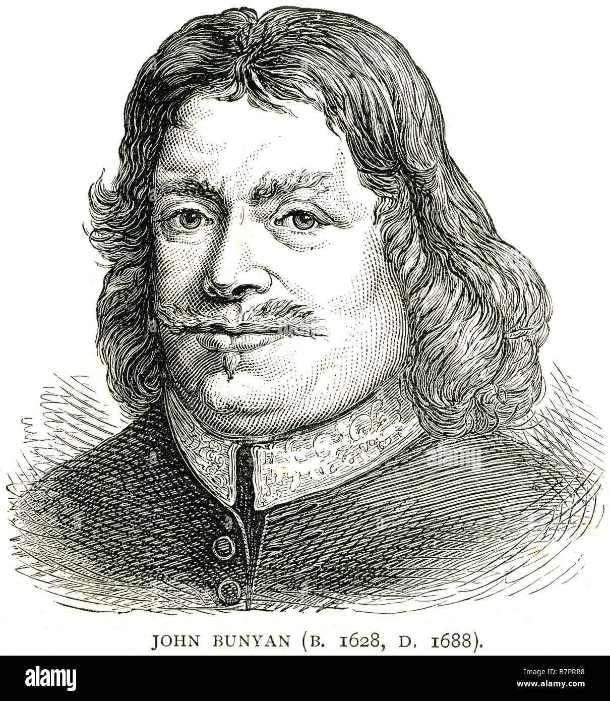 John Bunyan 1628 Anglais 1688 écrivain chrétien prédicateur Pilgrim's Progress Face portrait profile Banque D'Images
