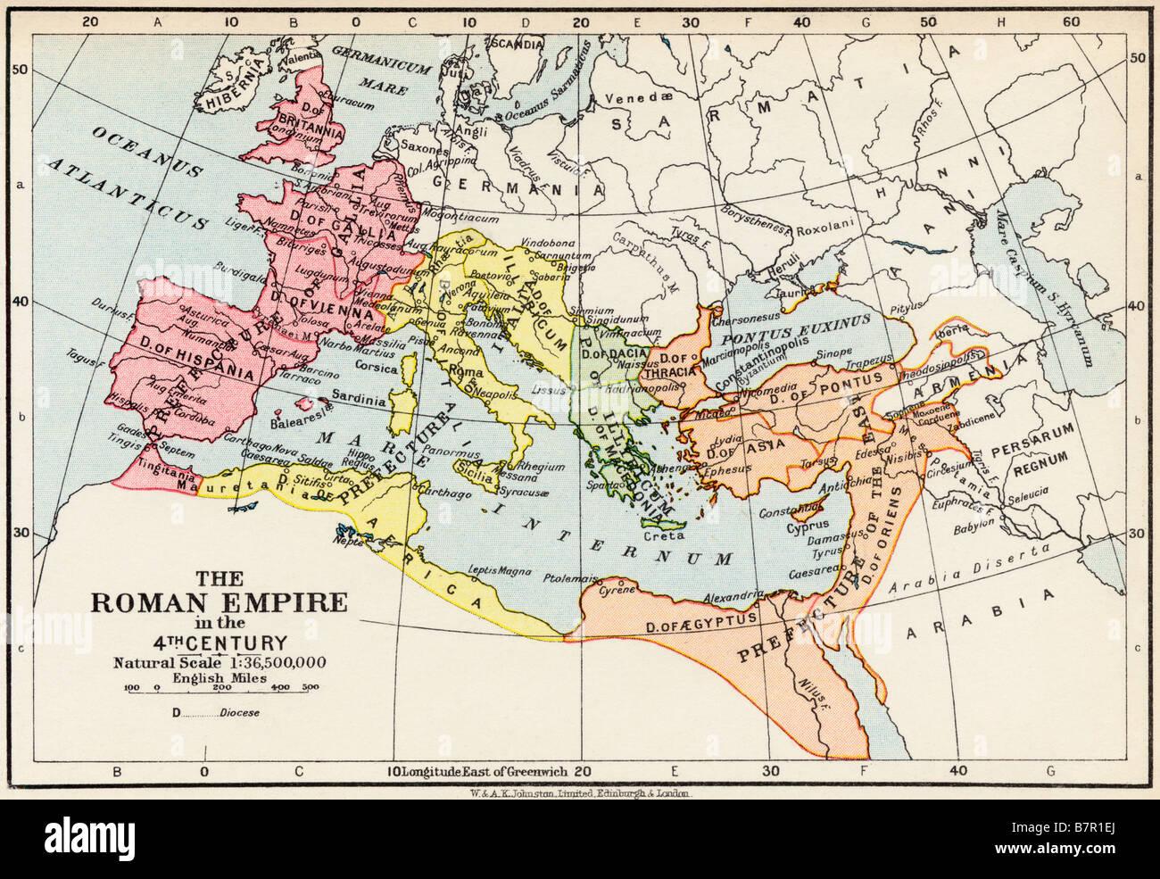 La carte de l'Empire romain au 4ème siècle Photo Stock
