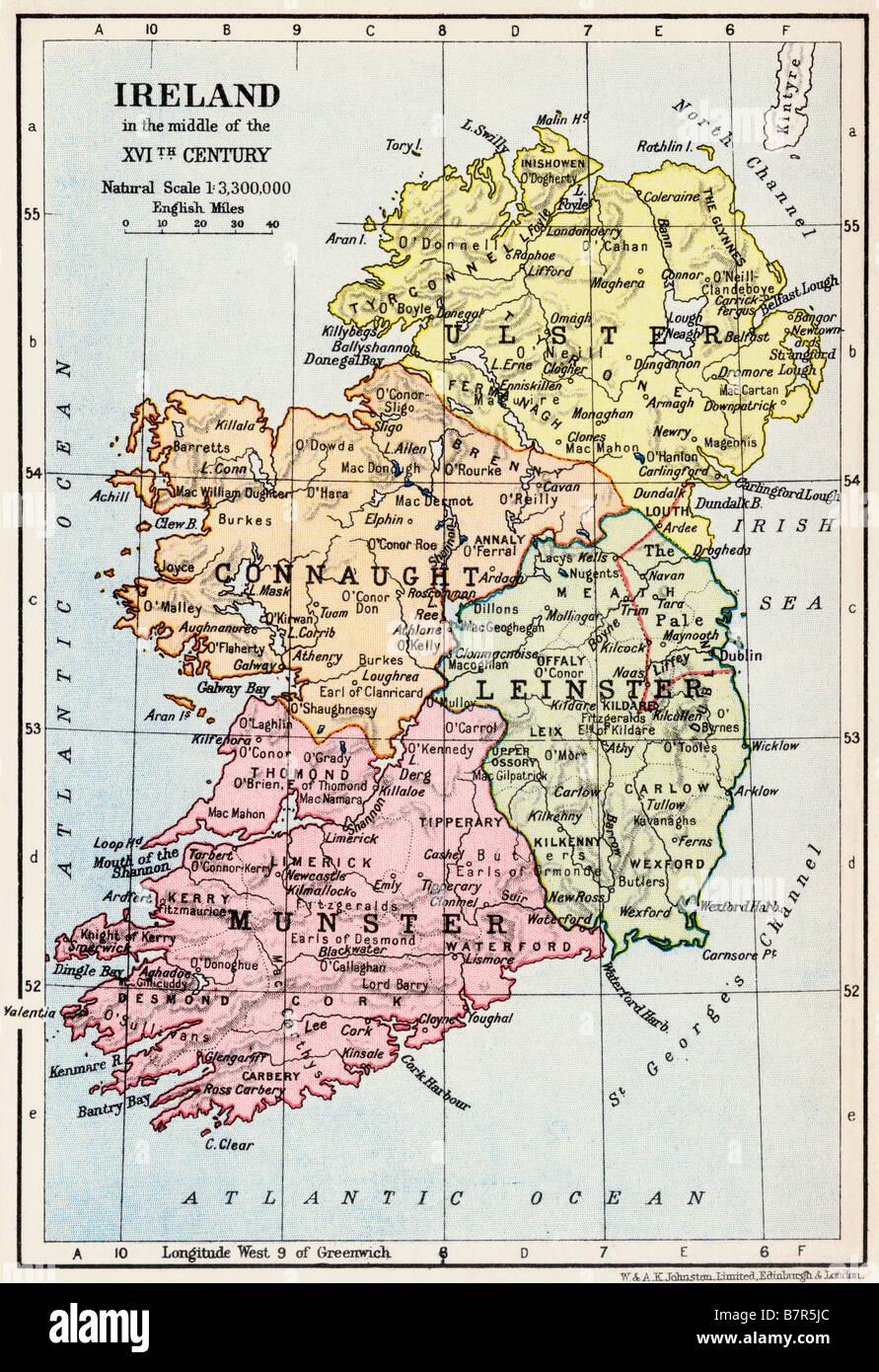 Site de l'Irlande au milieu du xvième siècle Photo Stock