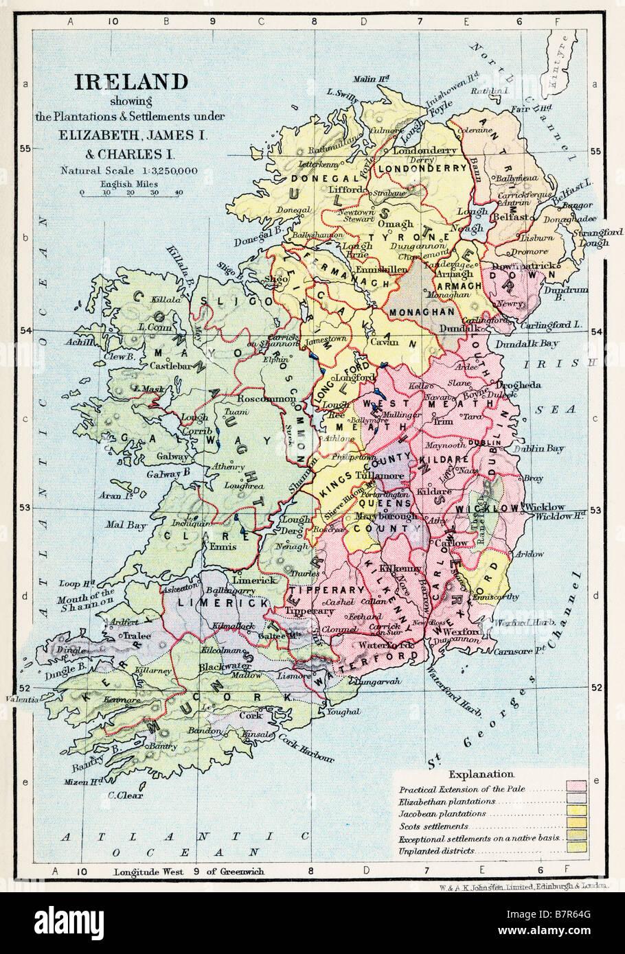 Carte de Irlande montrant les plantations et les colonies sous Elizabeth James I et Charles I Photo Stock