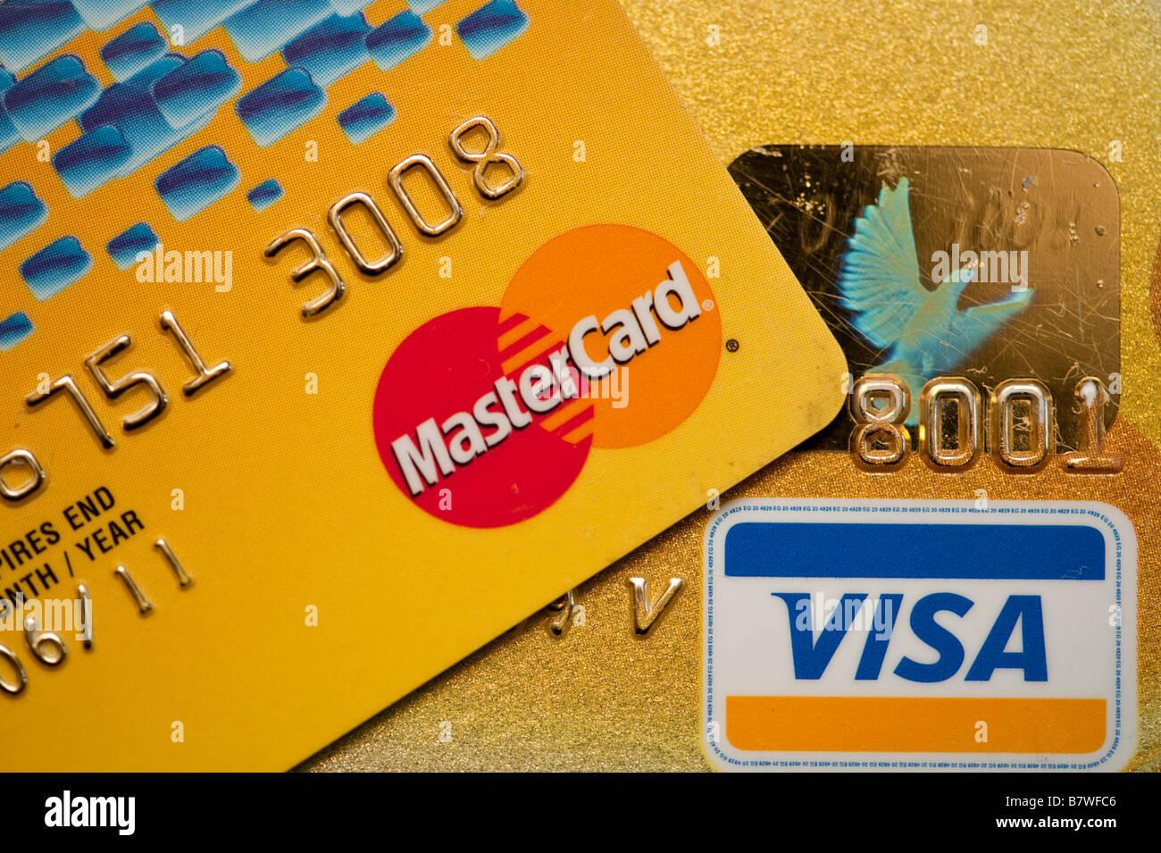 Les cartes de crédit Mastercard et Visa Photo Stock