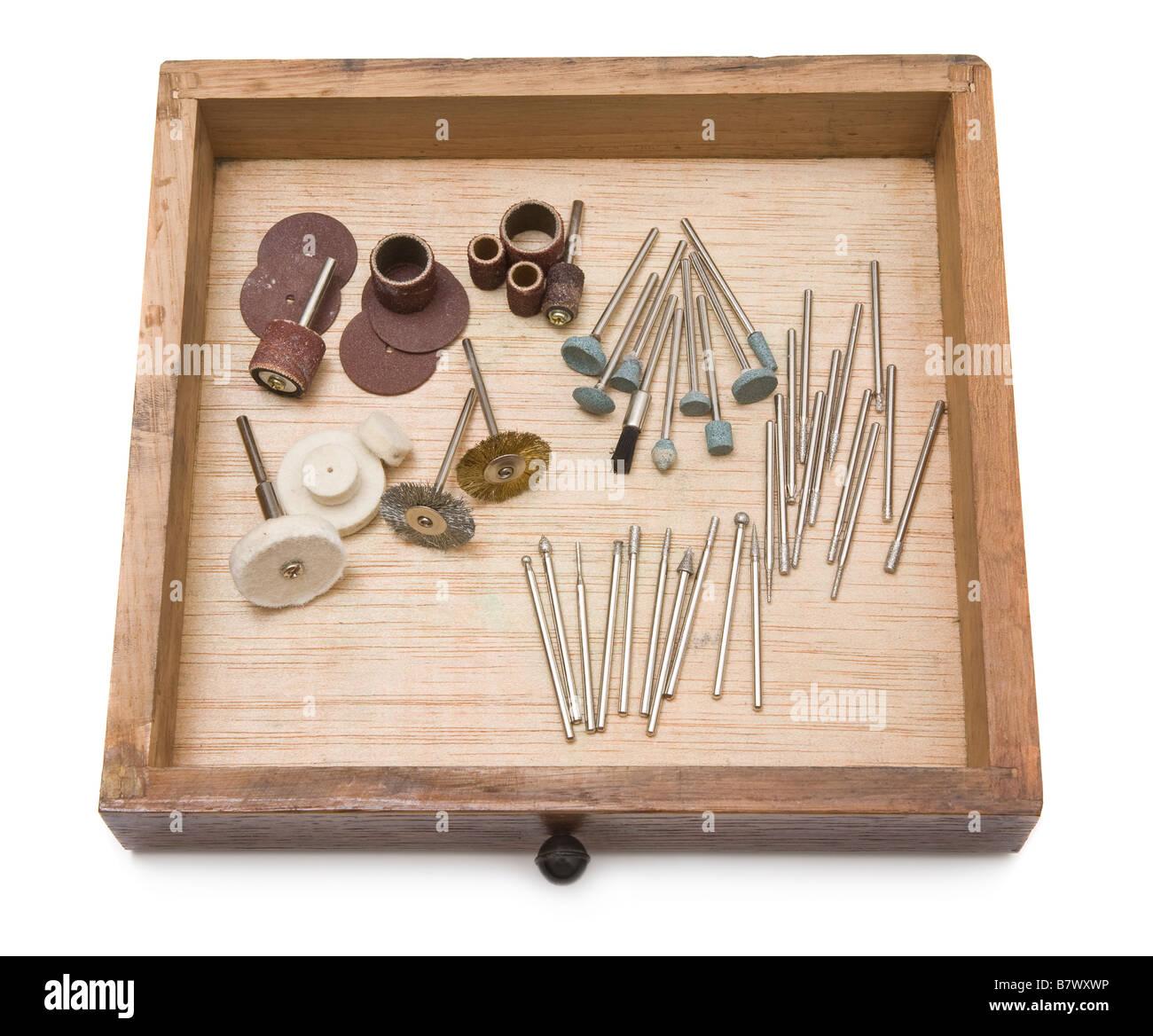 Petits conseils d'outils électriques à tiroirs en bois utilisé pour l'élaboration de Photo Stock