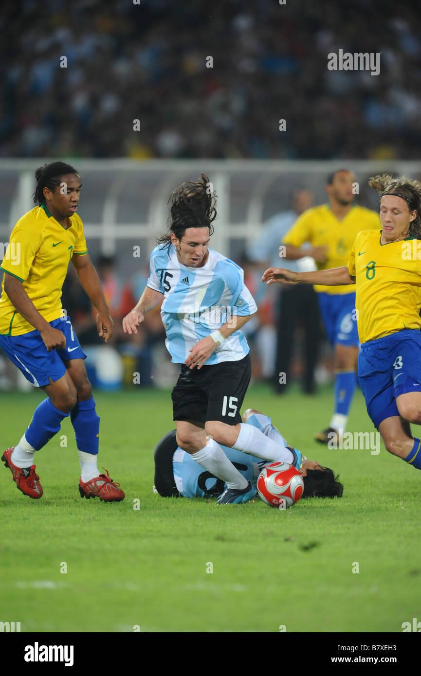 Lionel Messi ARG 19 AOÛT 2008 Jeux Olympiques de Beijing 2008 Football  Football match de demi-finale hommes entre l Argentine et le Brésil c41d3038ed99