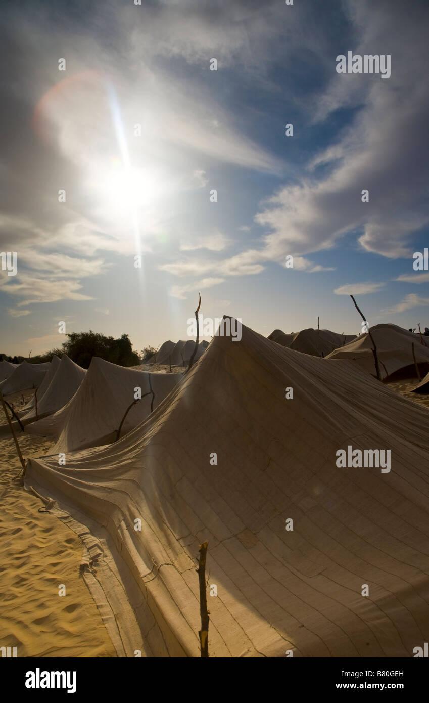 Désert nomades tentes. Banque D'Images