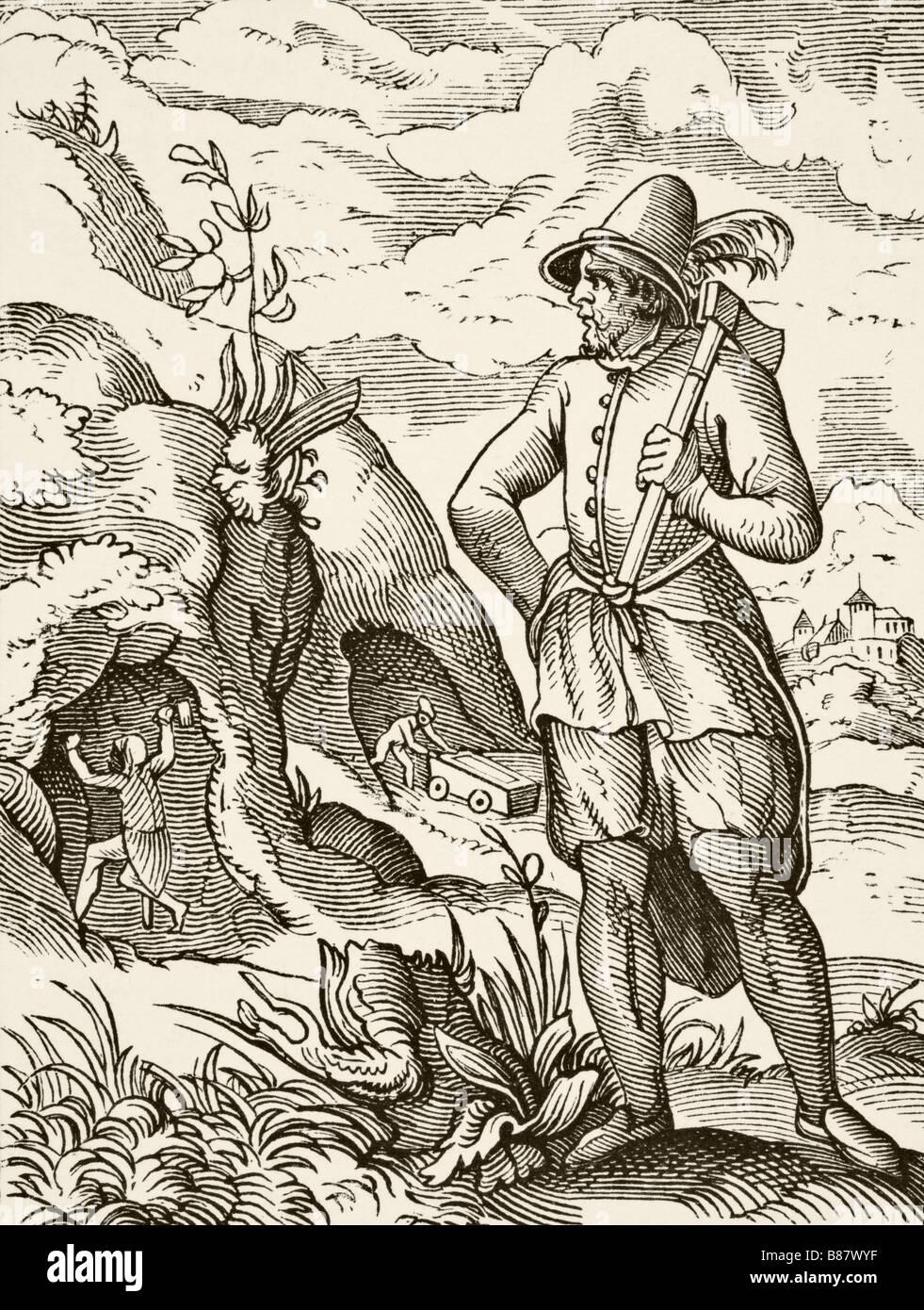 Un seizième siècle miner Photo Stock