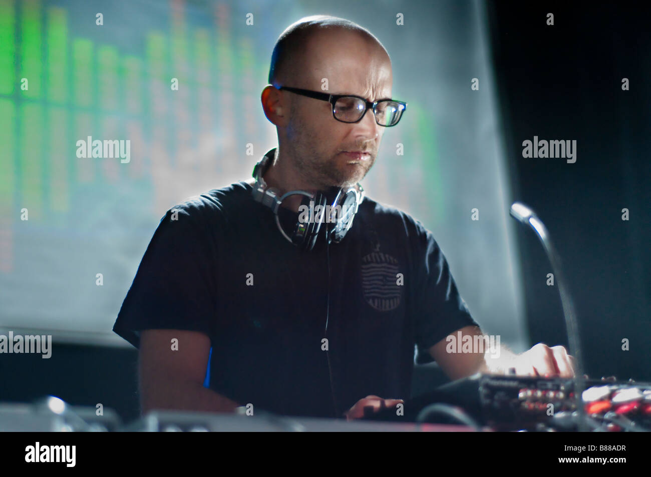 Moby (Richard Melville Hall) tourne un set de DJ à la 930 Club à Washington DC. Photo Stock