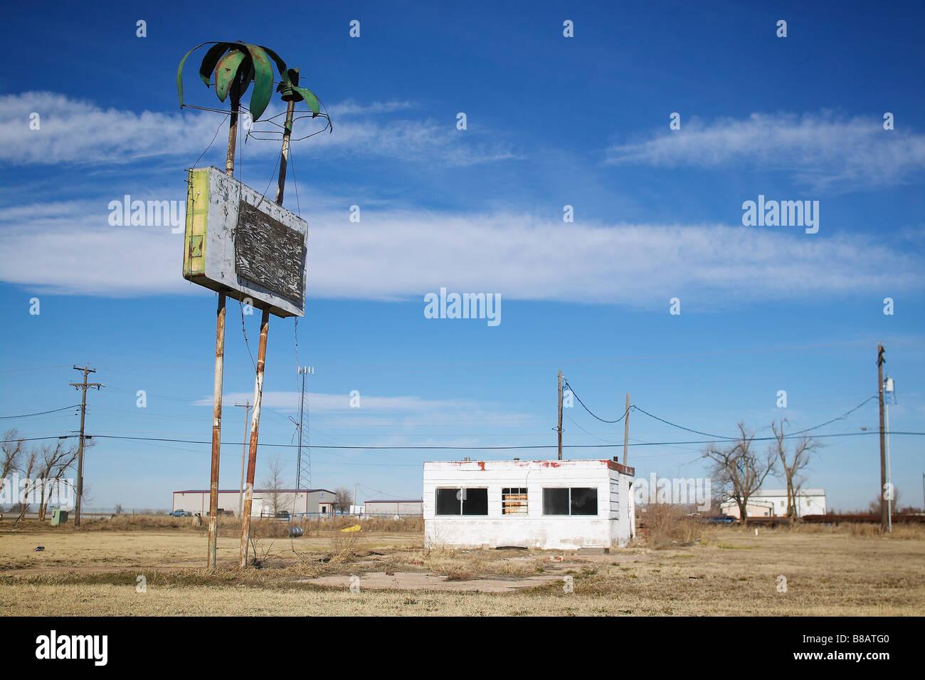 Abandonner Motel, dans l'ouest du Texas Photo Stock