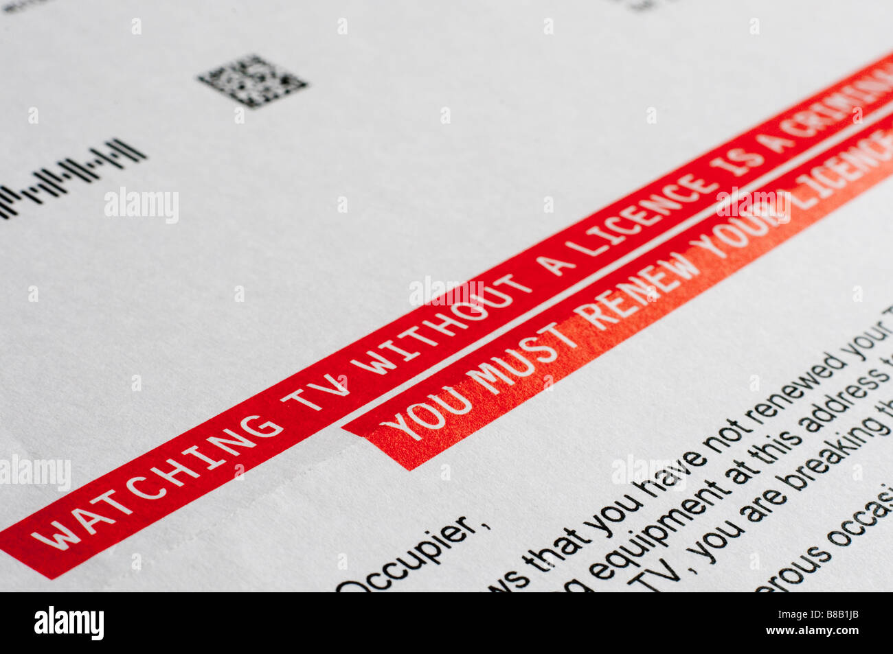 Lettre d'avertissement à propos de licences de télévision/justice pénale si la licence n'est Photo Stock