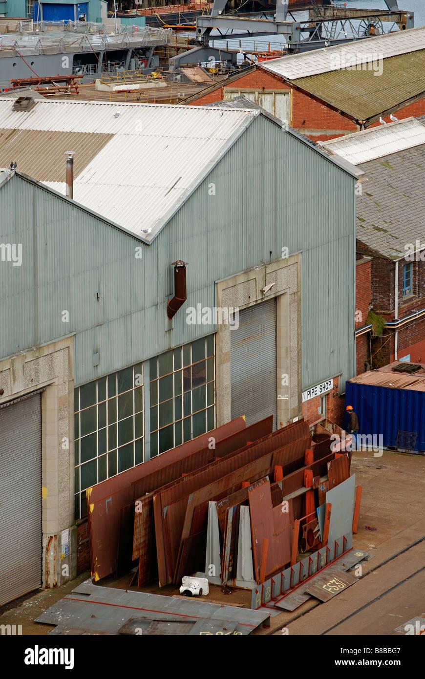 À l'entreposage industriel,chantier pendennis falmouth, Cornwall, uk Photo Stock