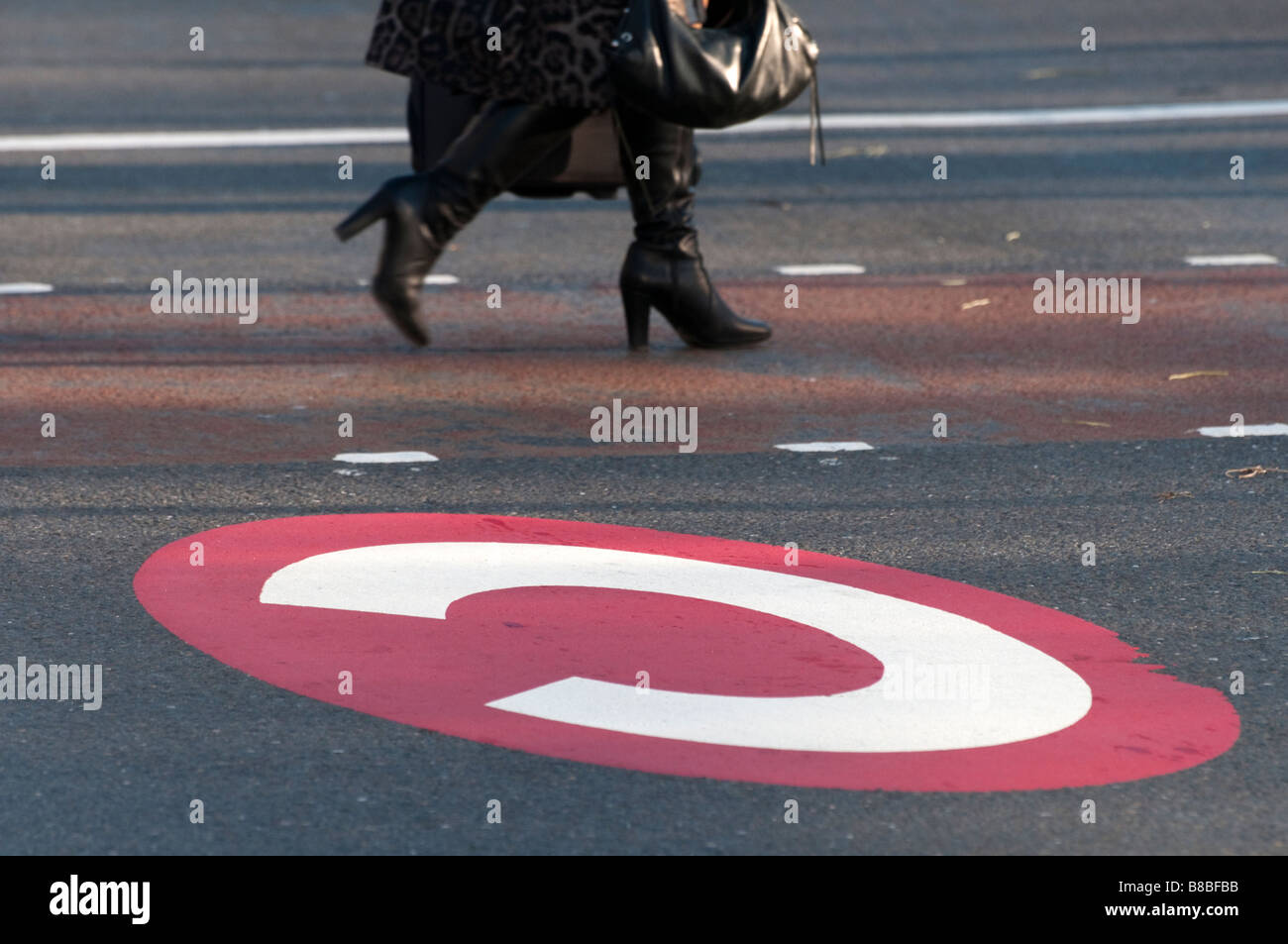 Congestion charge sign on road London England UK Photo Stock