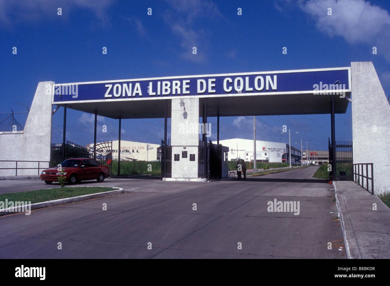 Entrée de la zone Duty Free ou Zona libre dans la ville de Colon, Panama Photo Stock