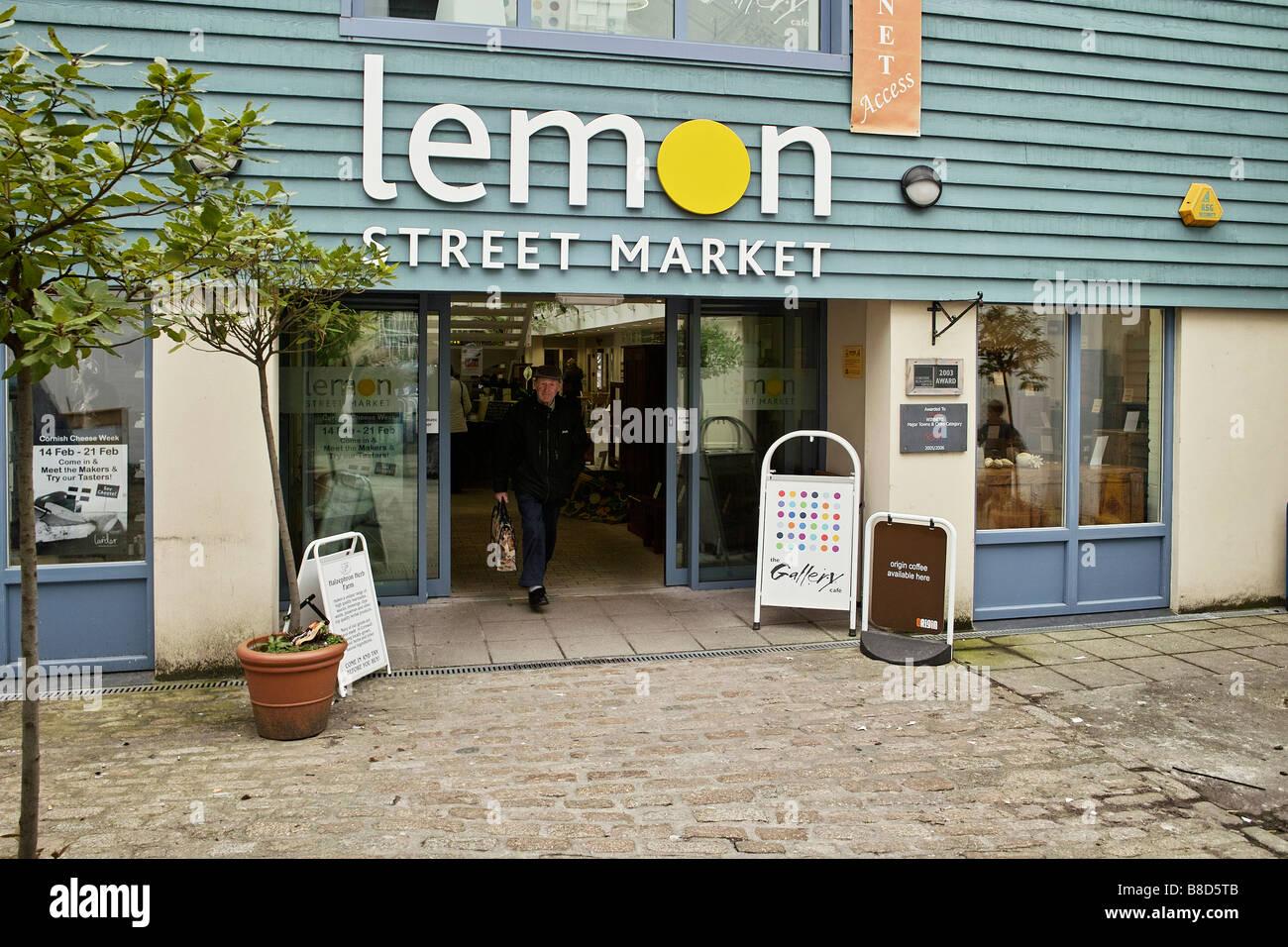 L'entrée de la rue du marché de citron à Truro, Cornwall, uk Photo Stock