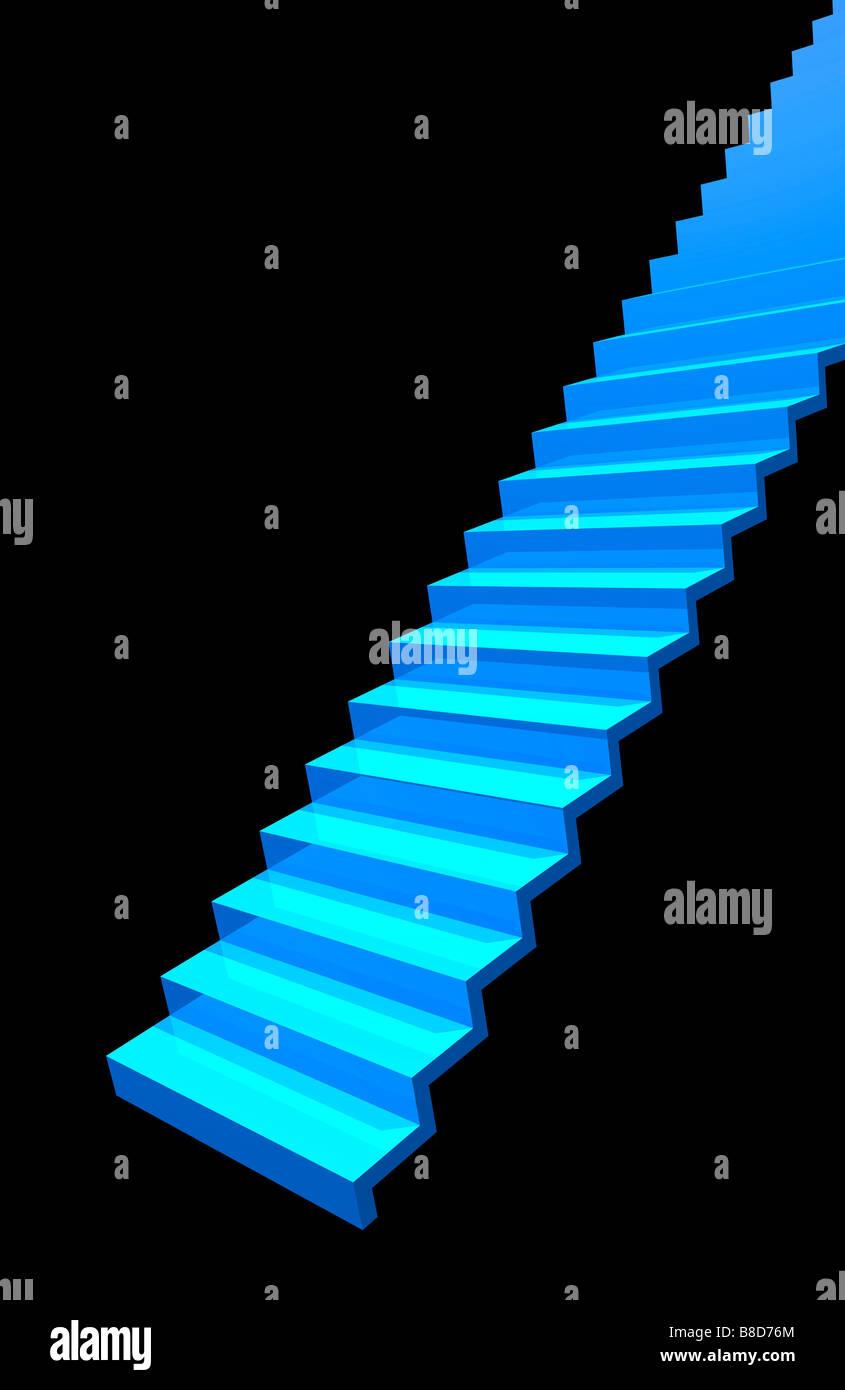 L'escalier bleu sur fond noir. Photo Stock