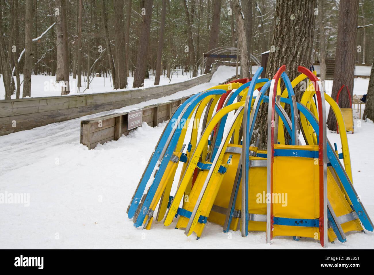 Traîneaux Luge à Muskegon Winter Sports Complex Photo Stock