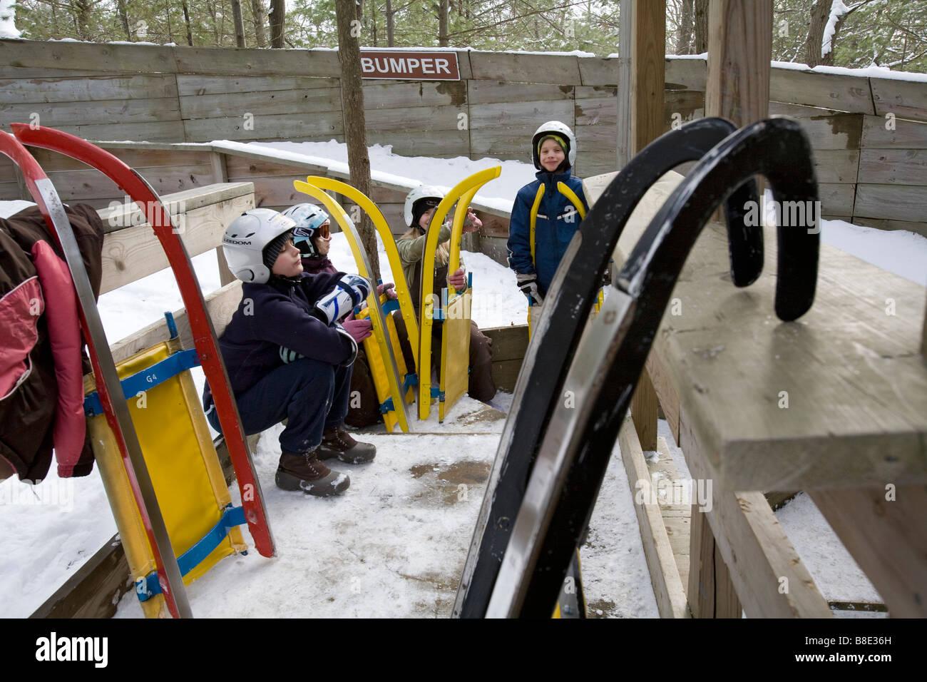 Piste de luge à Muskegon Winter Sports Complex Photo Stock