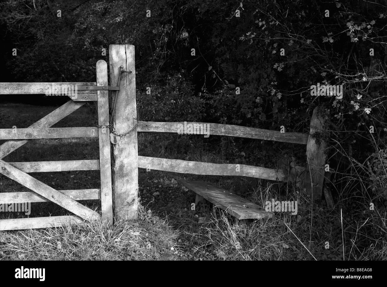Porte en bois paysage stile monochrome Banque D'Images