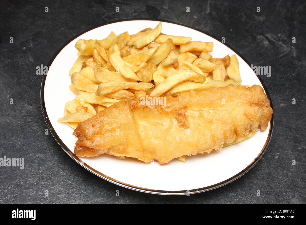 Fish and chips d'une friterie. Photo Stock