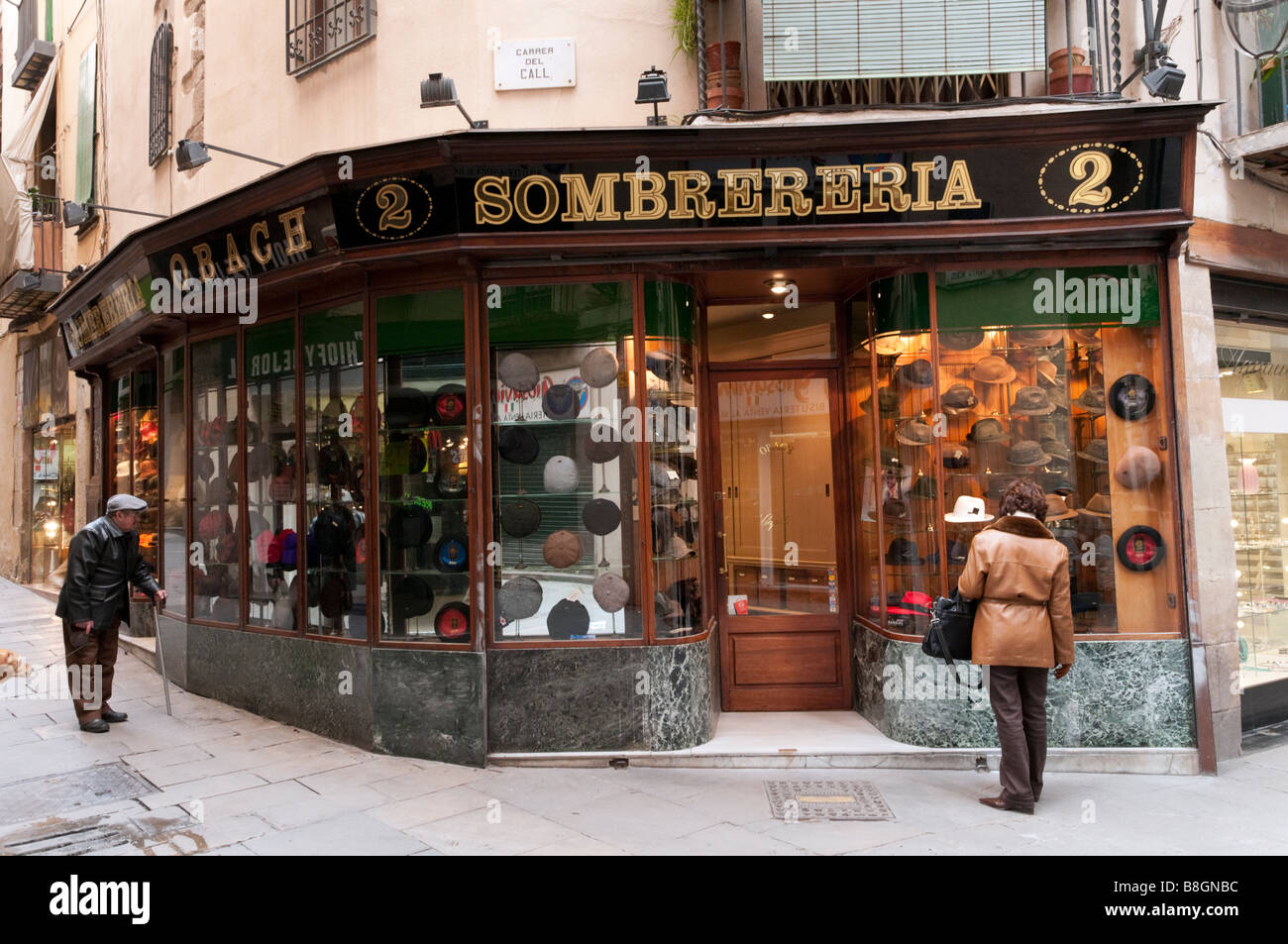 Hat Shop dans le Barri Gotic de Barcelone, Espagne Photo Stock