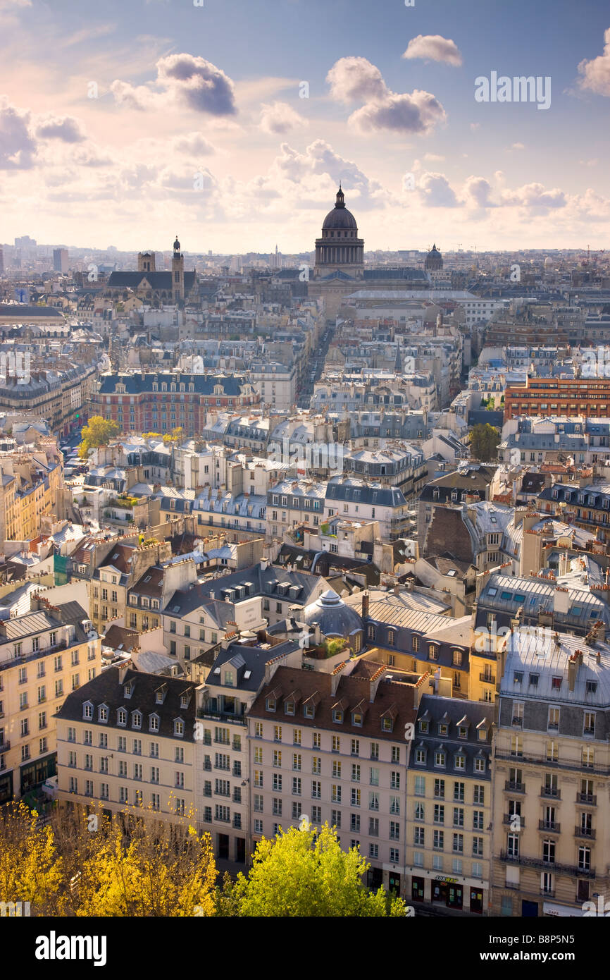 Vue imprenable sur Paris au Panthéon Dome Paris France Photo Stock