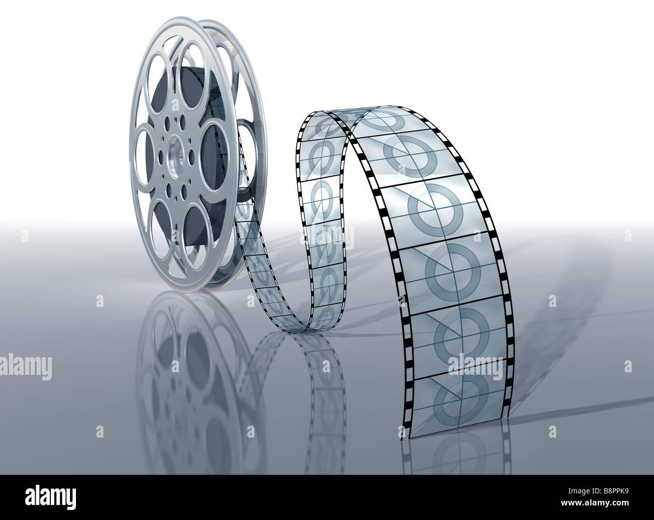 Illustration d'une bobine de film et film sur une surface brillante Photo Stock