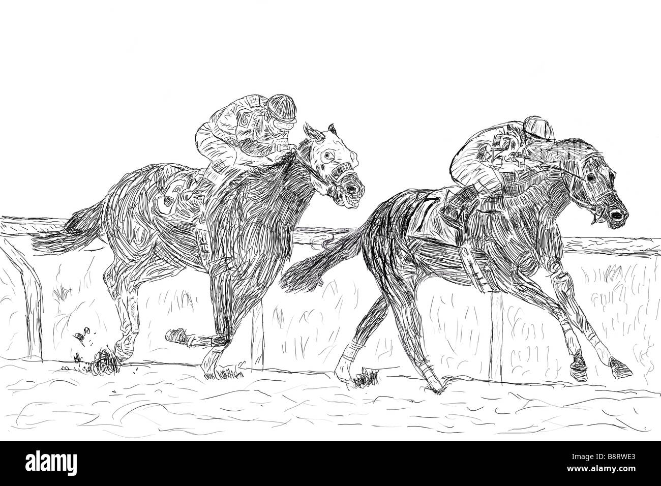 Dessin plume et encre d 39 une course de chevaux banque d - Dessin cheval de course ...