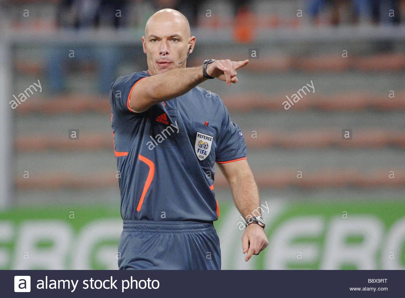 L'arbitre Howard Webb'genova 18-12-2008 'foot Coupe de l'Uefa 2008-2009 ampdoria «-Séville Photo Stock