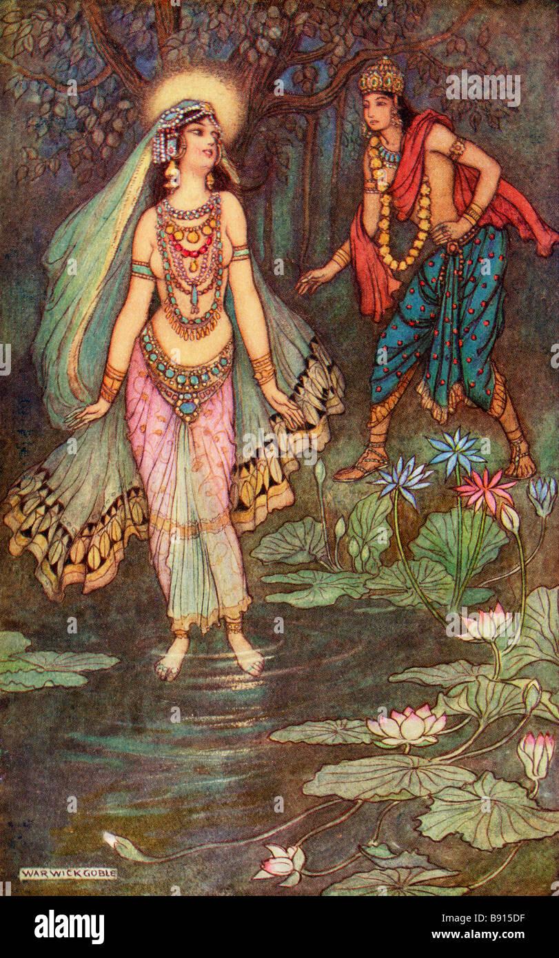 Shantanu répond à la Déesse Ganga Banque D'Images