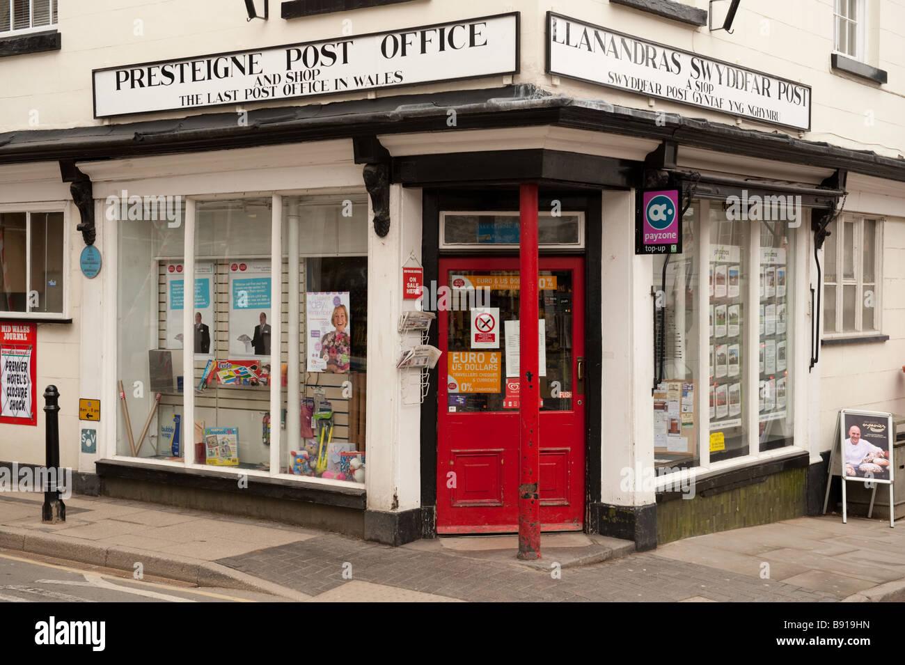 Le bureau de poste et petit coin boutique à presteigne village powys