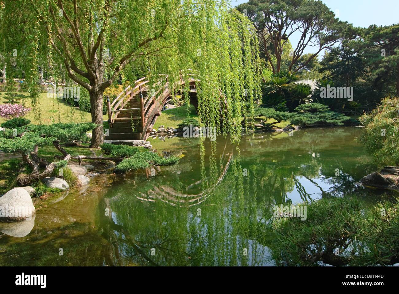 Jardin japonais avec lune Bridge et bassin de lotus Banque D\'Images ...