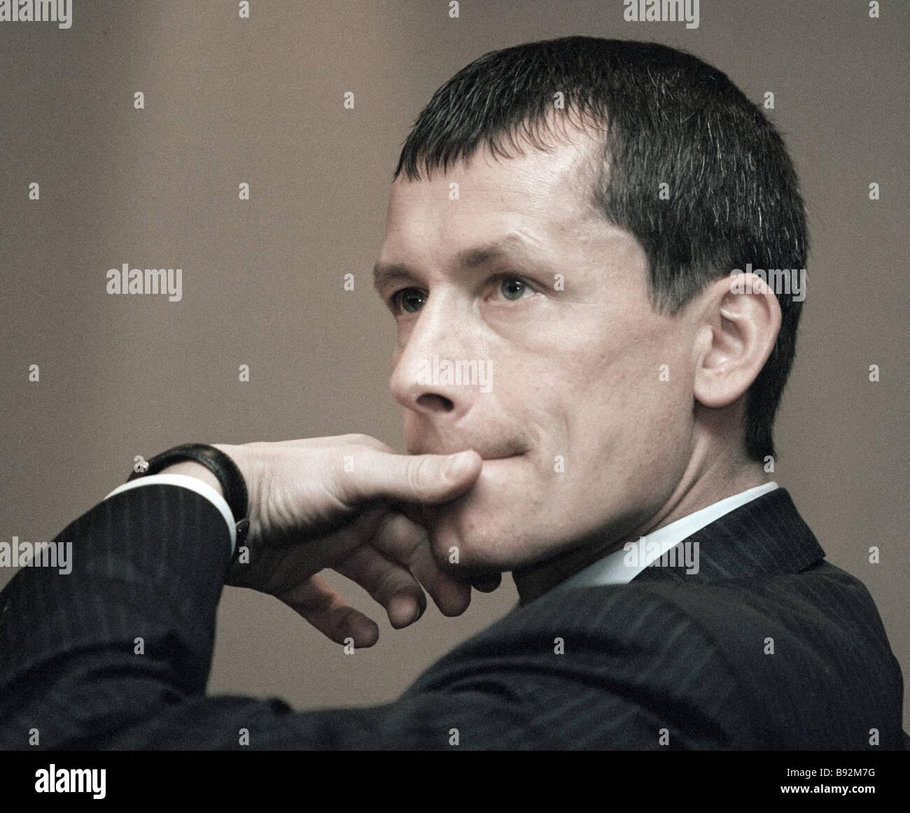 Andrei Sharonov sous-ministre du Développement économique et du commerce Photo Stock