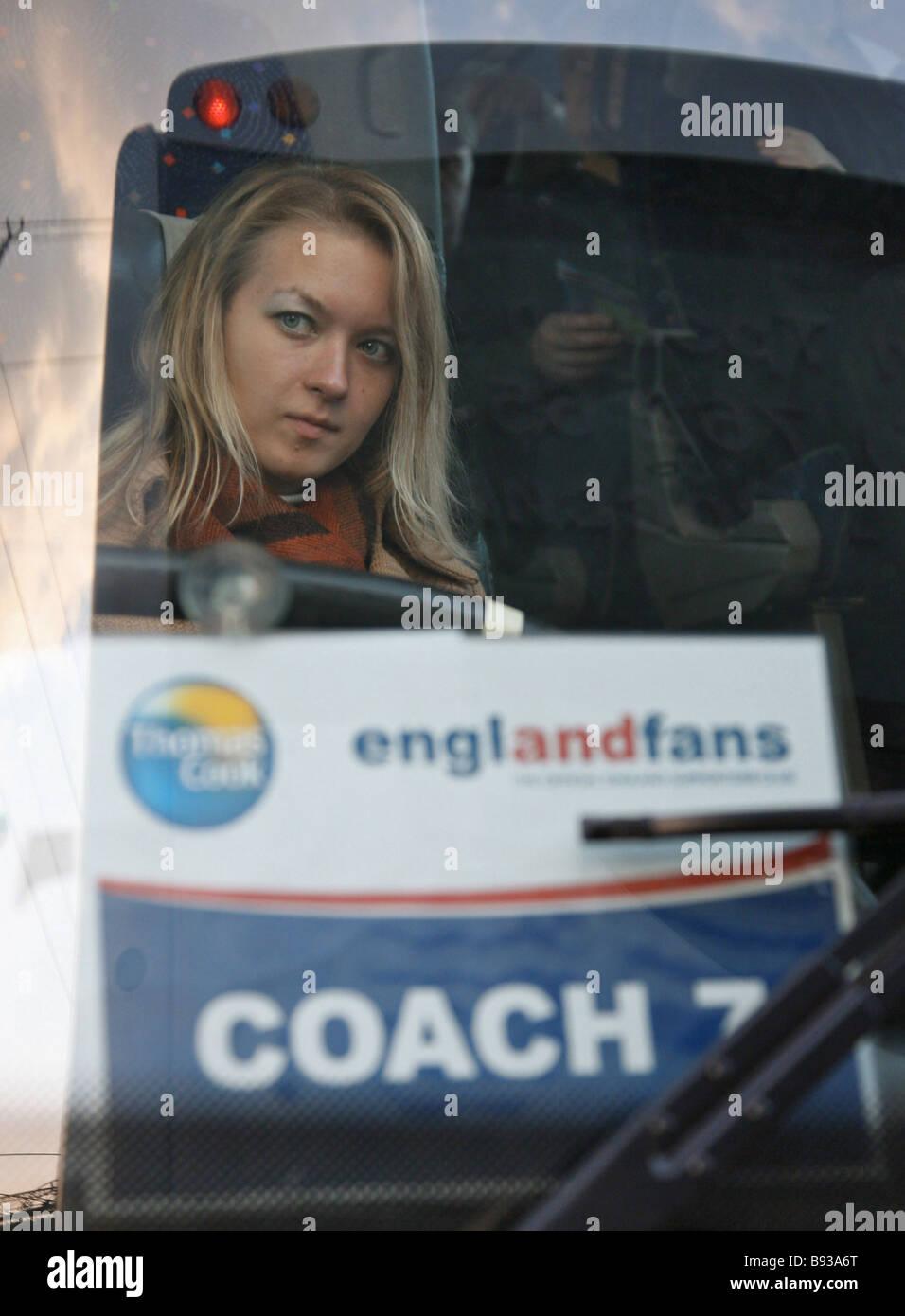 Un supporter de l'équipe d'Angleterre avant la Russie Angleterre match de qualification dans le championnat Photo Stock