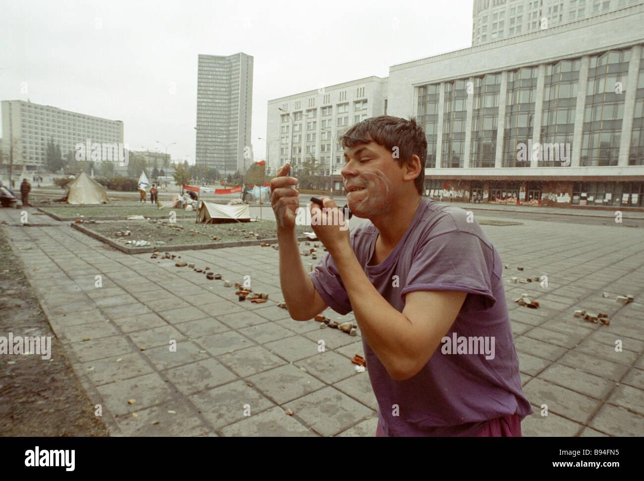 La RF Conseil suprême défenseur se rase dans la rue près de la Maison Blanche Photo Stock