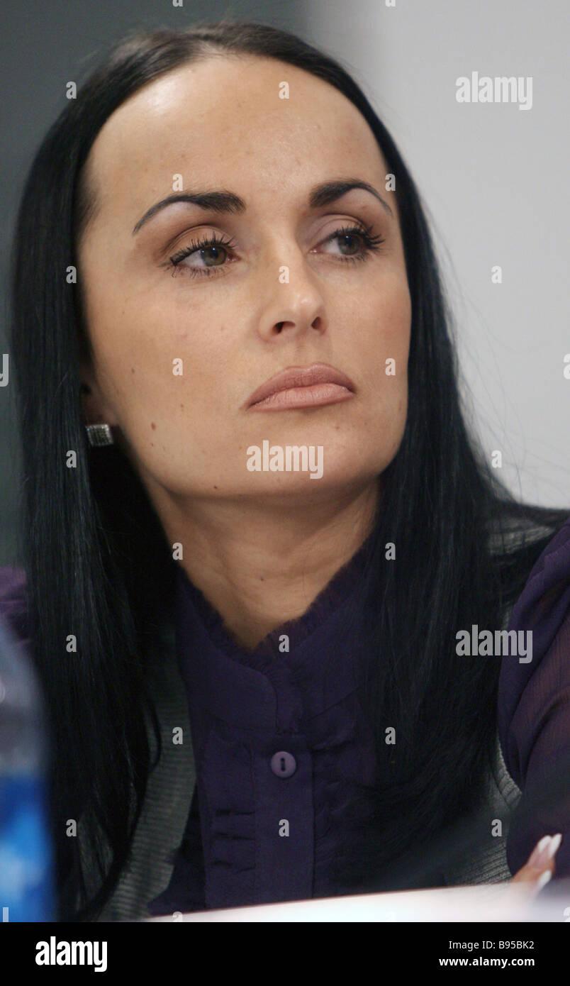 Irina Volk Doctorat en droit Secrétaire de presse du ministère de l'intérieur de Moscou La criminalité Photo Stock