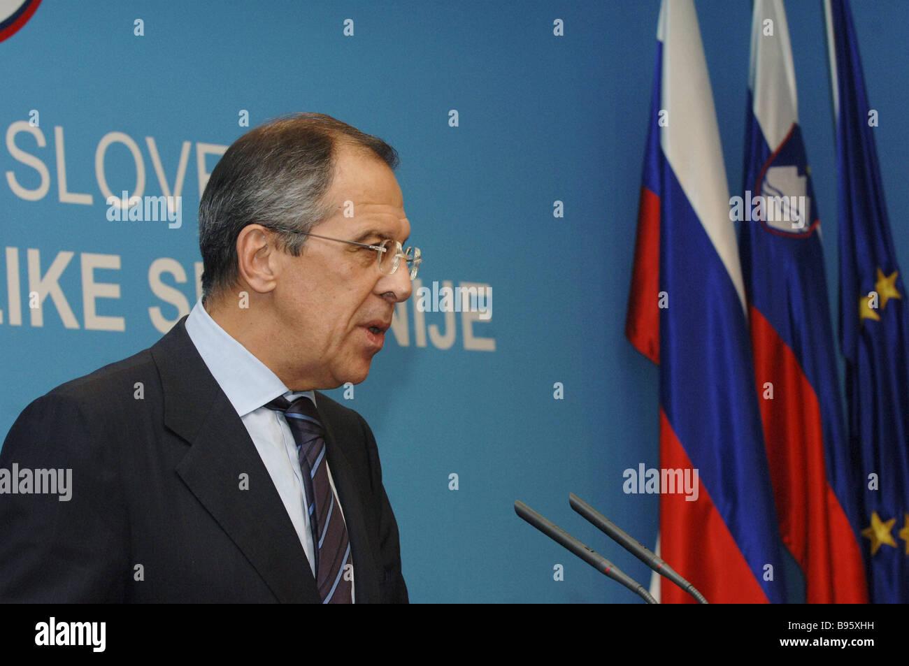 Le Ministre russe des affaires étrangères Sergei Lavrov visites Slovénie Photo Stock