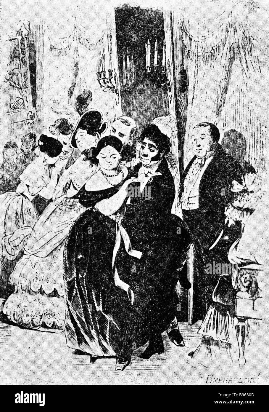 L'une des illustrations de l'artiste graphique Alexander Agin (1817-1875) à Nikolai Gogol's 'Dead Photo Stock