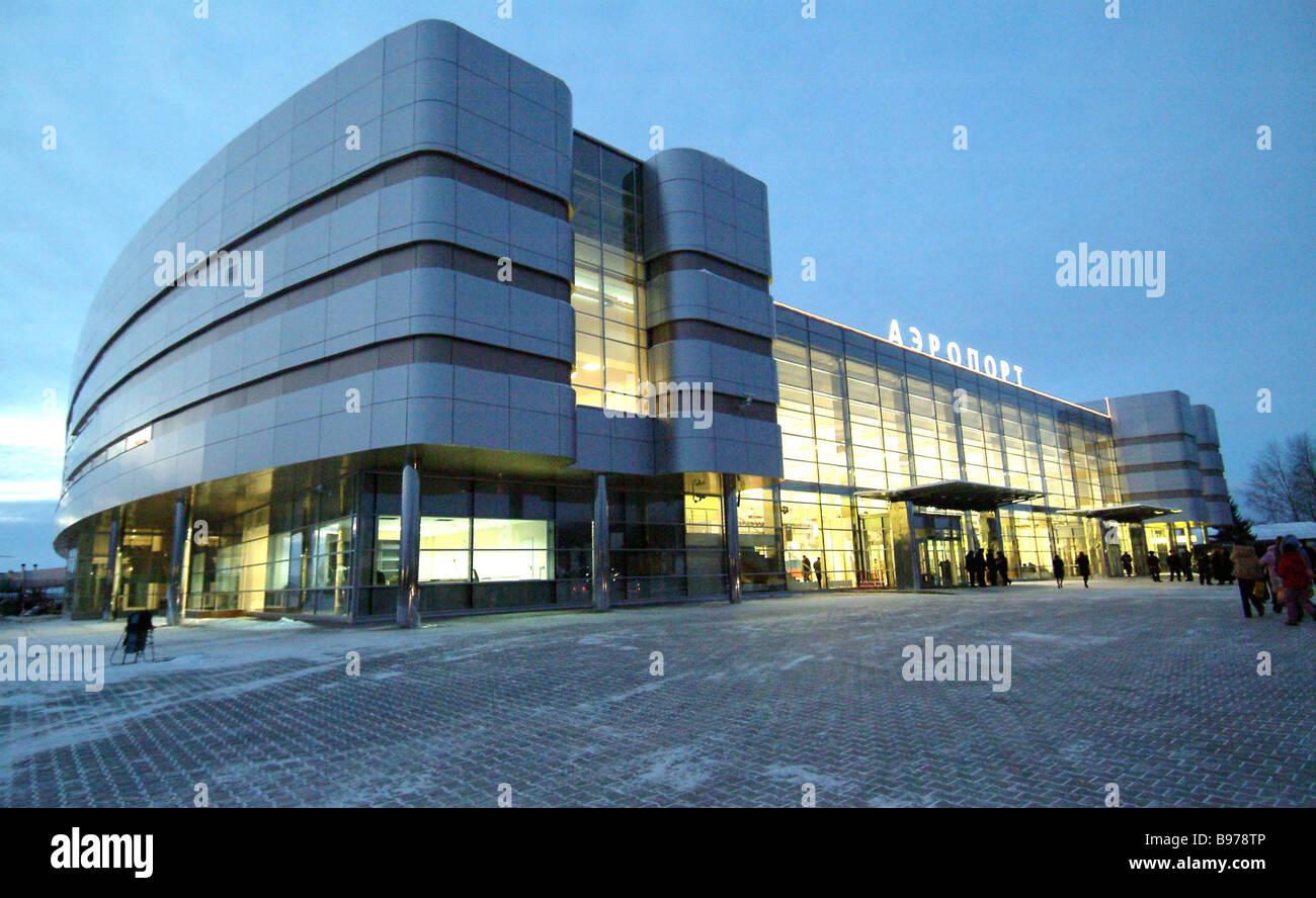 Un terminal international complexe de haute technologie de l'aéroport Koltsovo dans Yekaterinburg Photo Stock