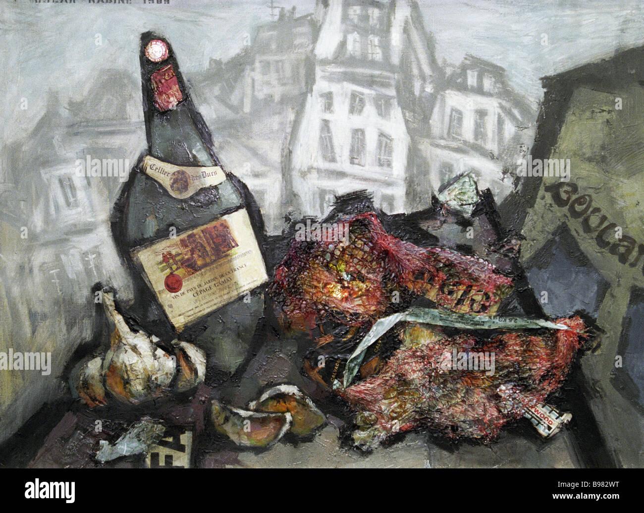 La reproduction de la vie Toujours Oscar Rabin s'affiche lors d'une exposition à la Maison des artistes Photo Stock