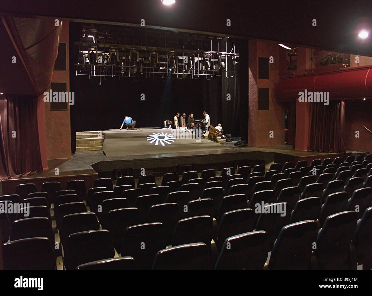 Salle de la haute technologie en fonction de Moscou Théâtre de la Lune peut accueillir 300 à 400 Photo Stock