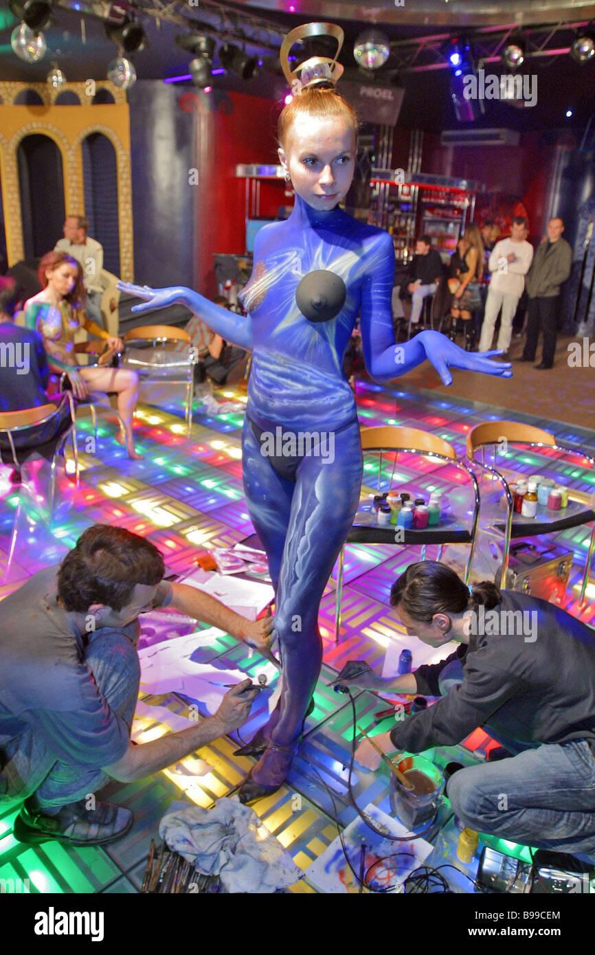 Un participant à un concours d'art de corps qui a eu lieu dans le cadre de la gigantesque festival 2006 Photo Stock