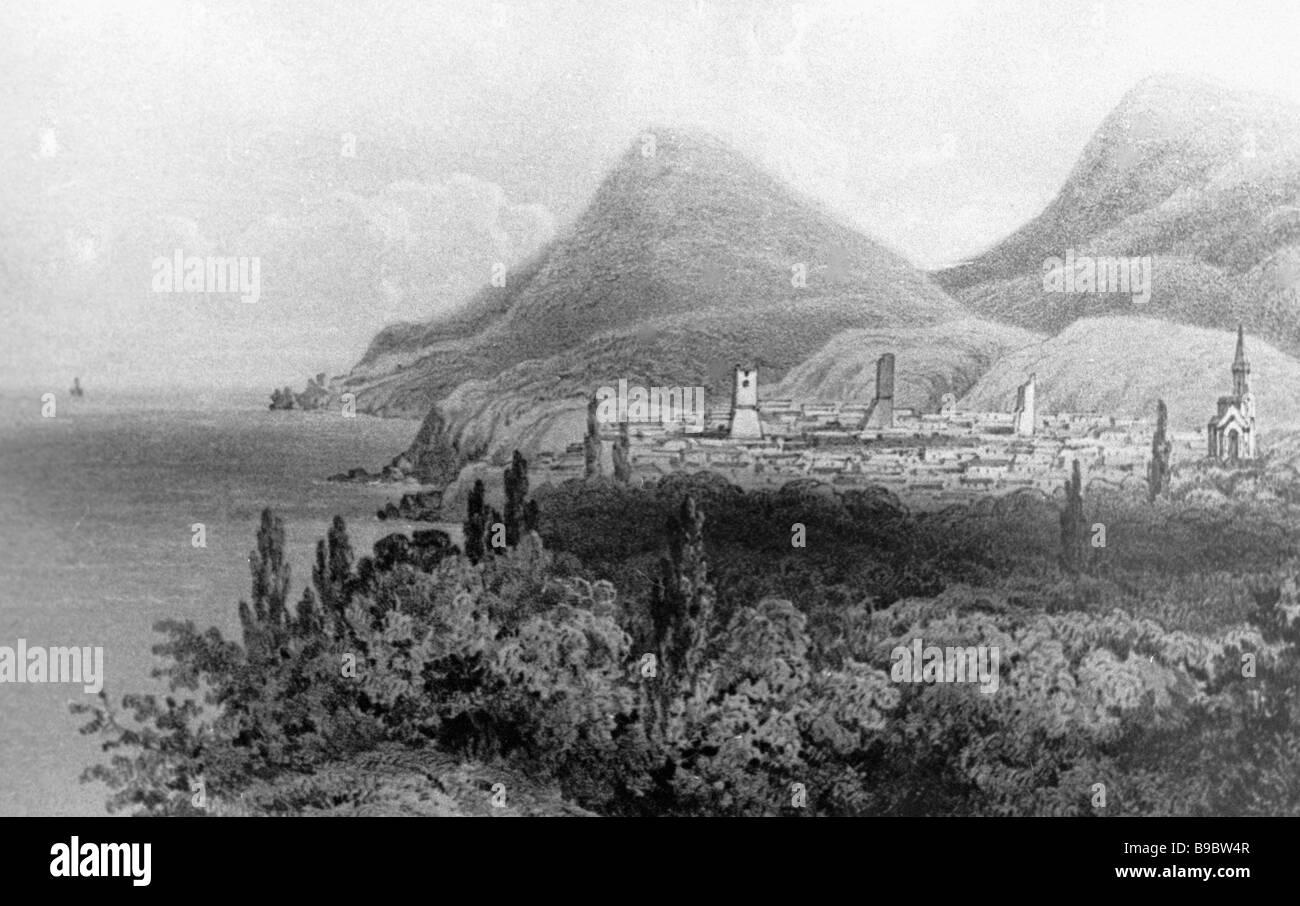 Reproduction d'un milieu du 19 siècle carte postale avec une vue sur la vieille Crimée Photo Stock