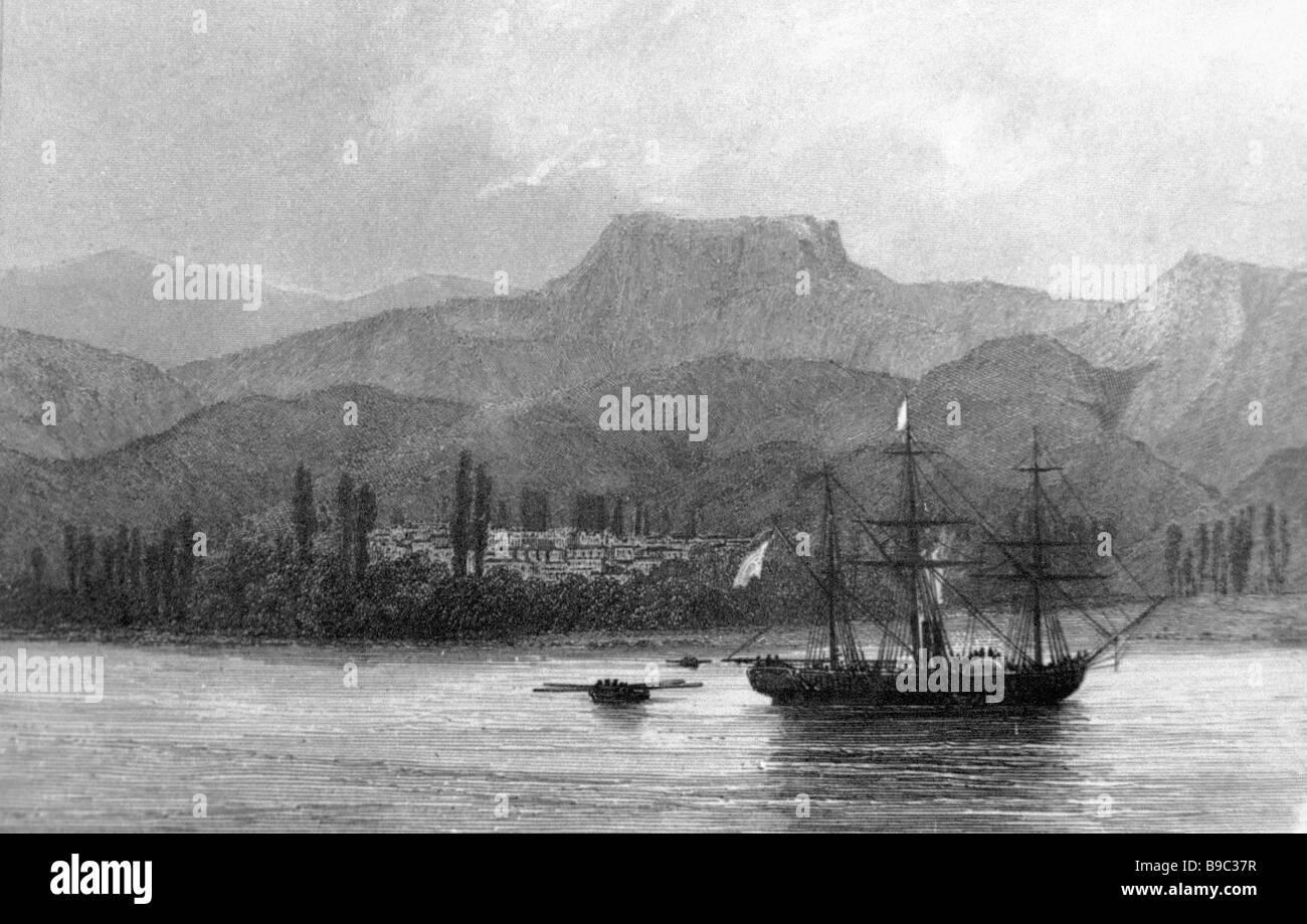 Reproduction d'une carte postale du milieu du xixe siècle avec vue sur la montagne dans la Crimée Photo Stock