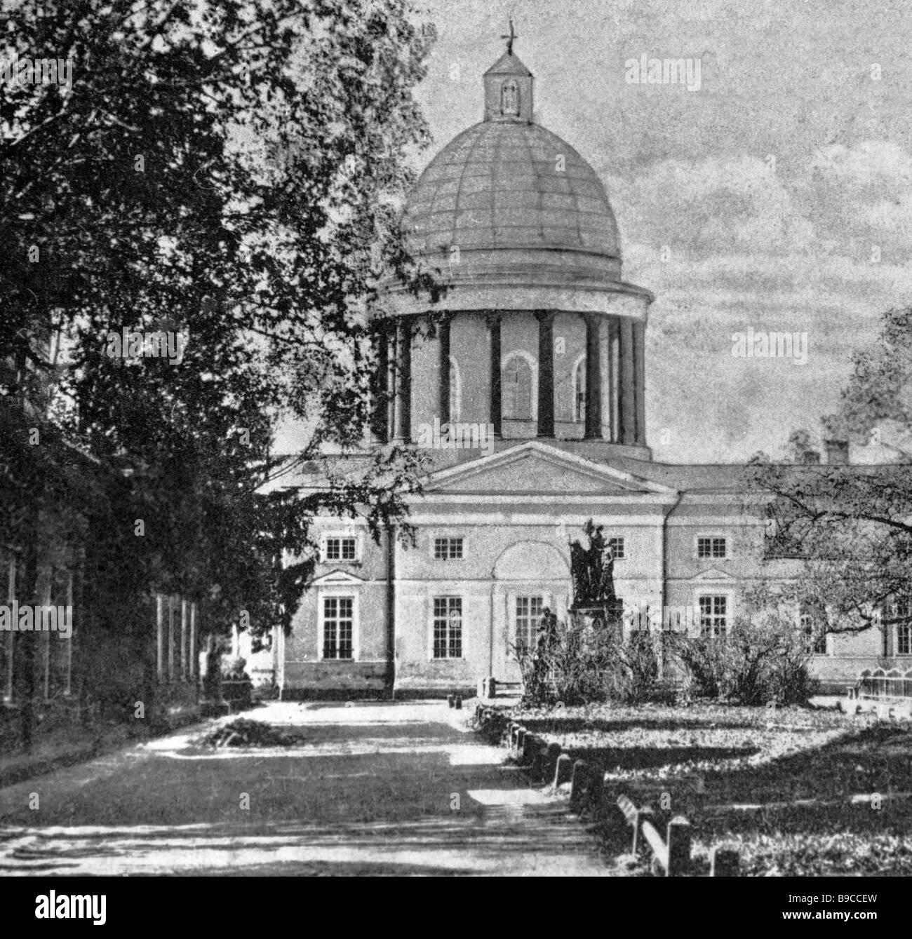 La reproduction des années 1900 Carte postale St Andrew s Cathédrale et le Monument à Alexandre I Photo Stock