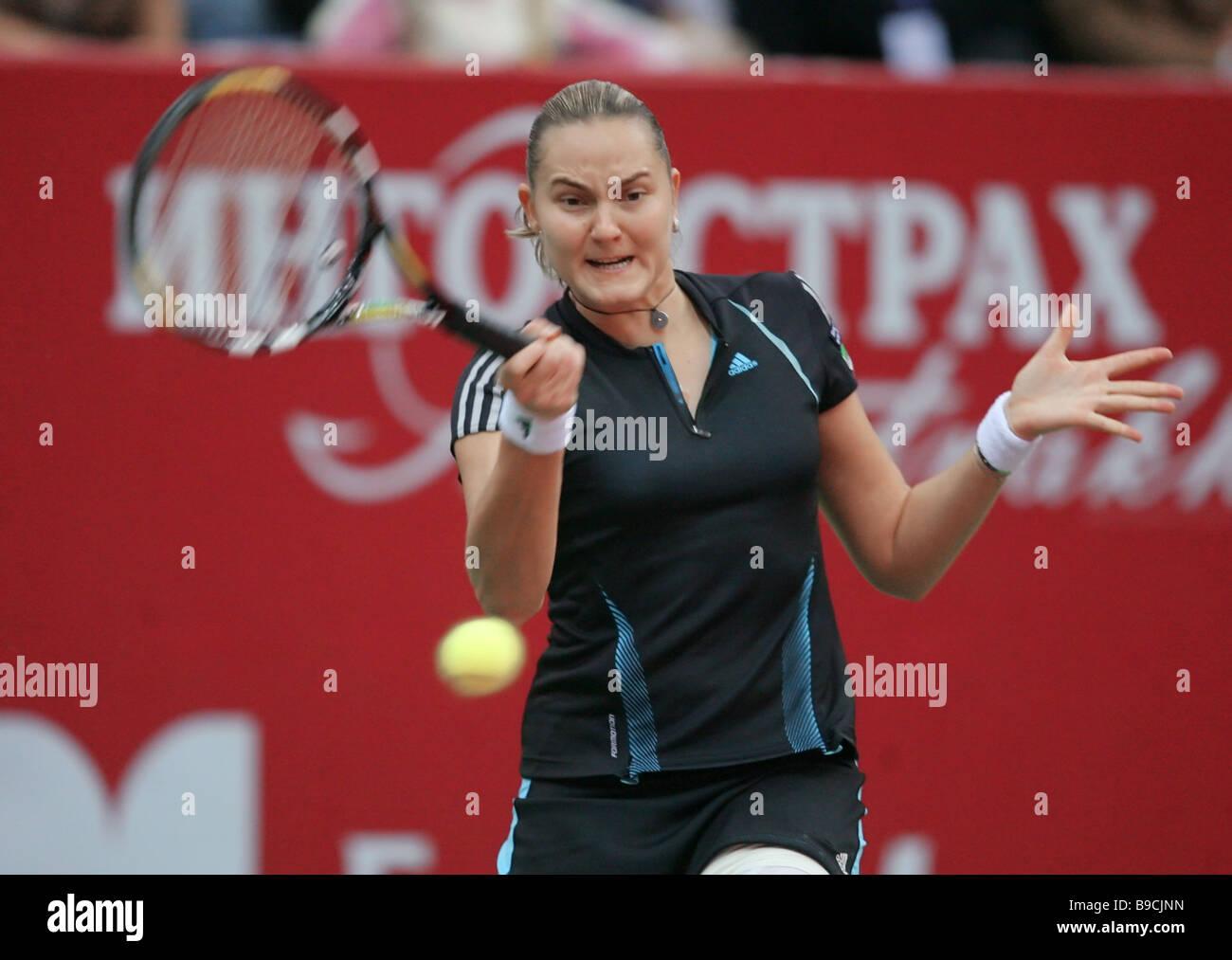 Le joueur de tennis russe Nadejda Petrova pendant le dernier match de la 17e tournoi de tennis international Kremlin Cup Banque D'Images
