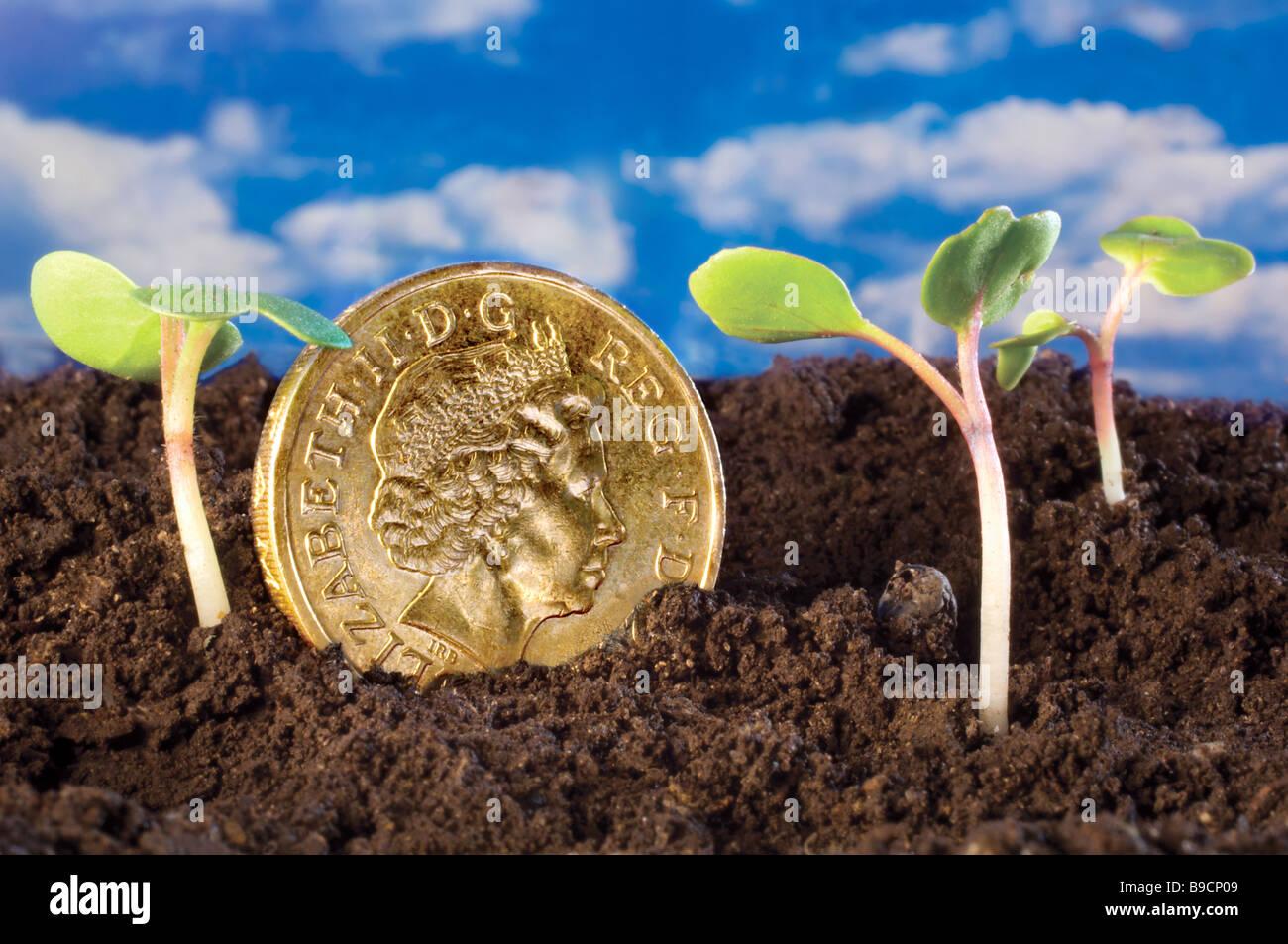 Les pousses vertes UK Pound récupération de la croissance économique de l'économie Photo Stock