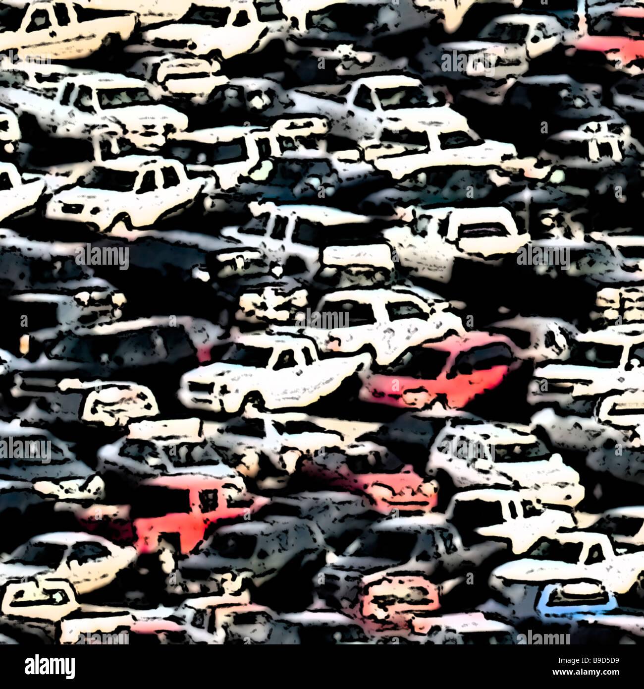 Voitures, camions automobiles en stationnement de nombreux véhicules d'art Photo Stock