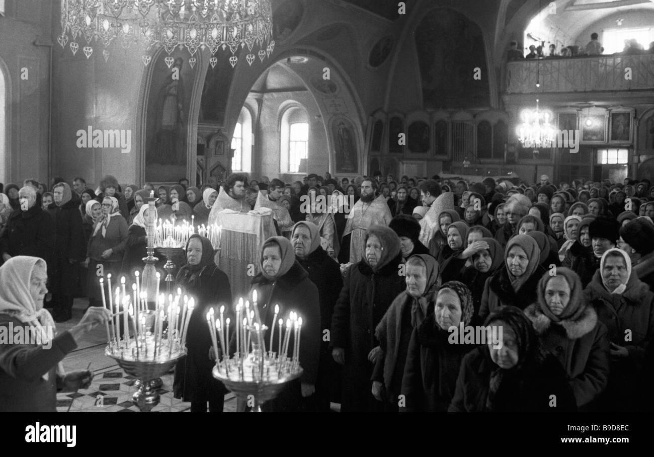 Un service à la Cathédrale de St Catherine ville Slobodskoy Photo Stock