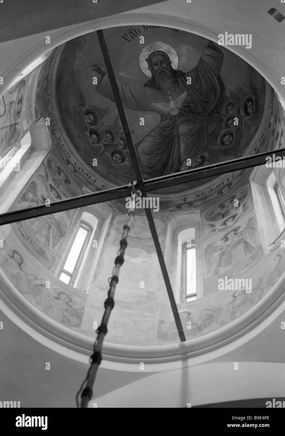 Le tambour de fresques centrale de l'Église Photo Stock